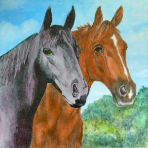 The two ladies have some more color now. The goal is one rich black horse and one deep sorrel horse with red and gold highlights.