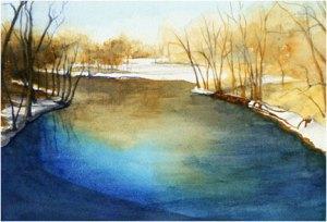 "DesPlaines River, 7"" x 10"" watercolor"
