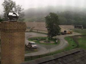 View of the barn from the guest house bedroom