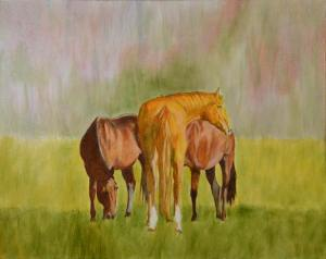 Third pass, a little more background and a little more color for our equine friends