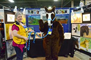 """""""Michy"""", the Michigan Horse Council's mascot. He did a perfect turn on the hindquarters to pose for this photo."""
