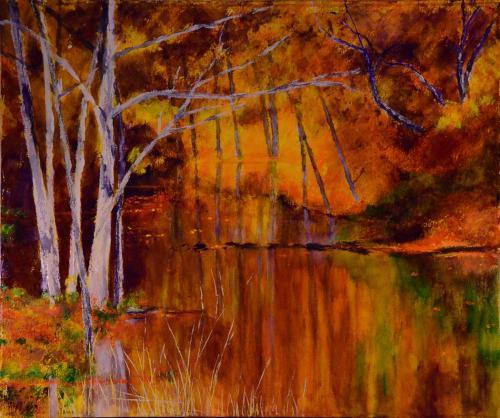"""Michigan Orange Juice"", oil on canvas, 36"" wide x 30"" high."