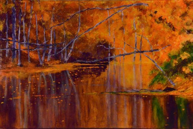 """Michigan Orange Bowl"", oil on canvas, 24"" x 36"". Available on my website, www.allifarkas.com"