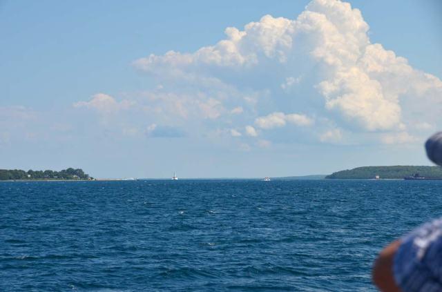 Lake Huron, headed to Mackinac Island on the left.