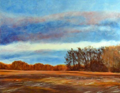 """Michigan Orange Freeze""--oil on canvas, 46"" x 36"""
