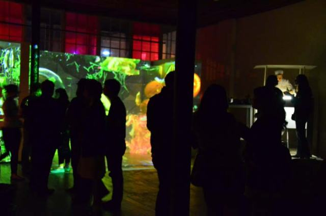 Public occasionally melted into the projection, or--more art is life?