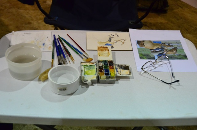 """My painting table, with work in progress. I got lots of """"wows"""" this weekend, and not just from the kids!"""