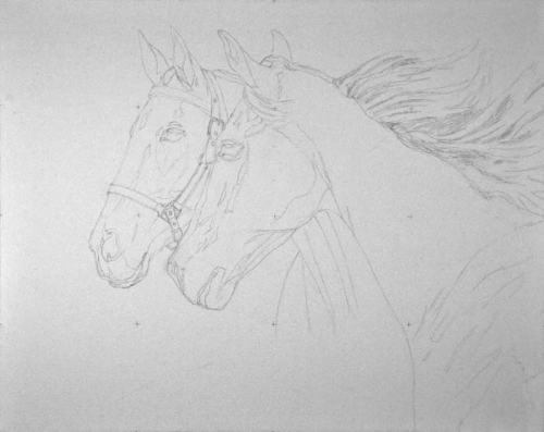 "Pencil drawing for Valor and Stonie.  This will be a full-size (16"" x 20"") portrait, oil on canvas."