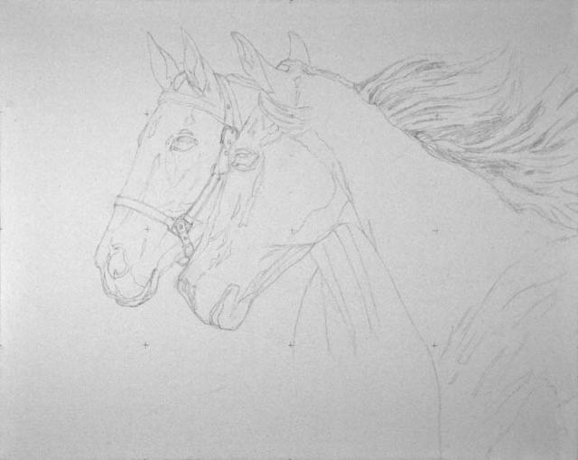 """Pencil drawing for Valor and Stonie.  This will be a full-size (16"""" x 20"""") portrait, oil on canvas."""