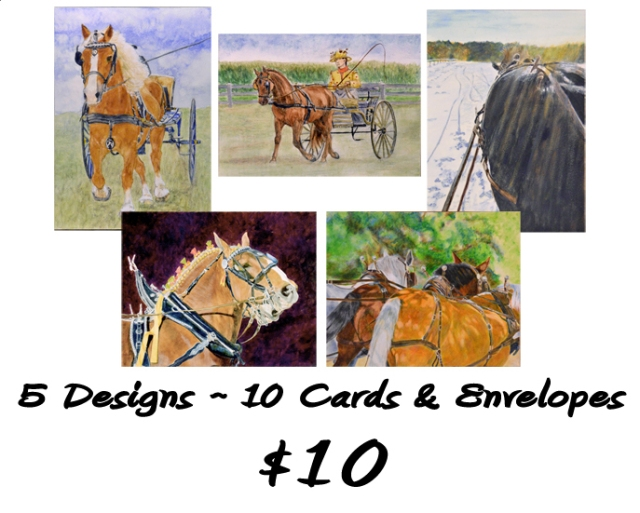 New note cards--driving horses