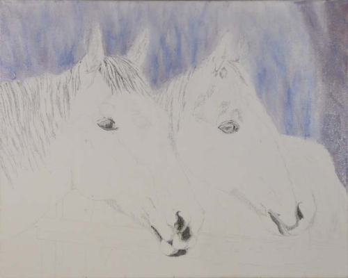 Ink with the background. Not to worry, the horses' ears shall reappear shortly.