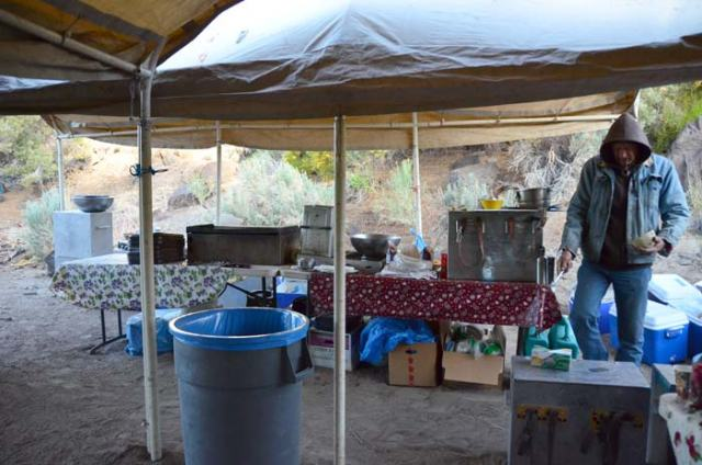 The camp kitchen, getting ready to make breakfast.