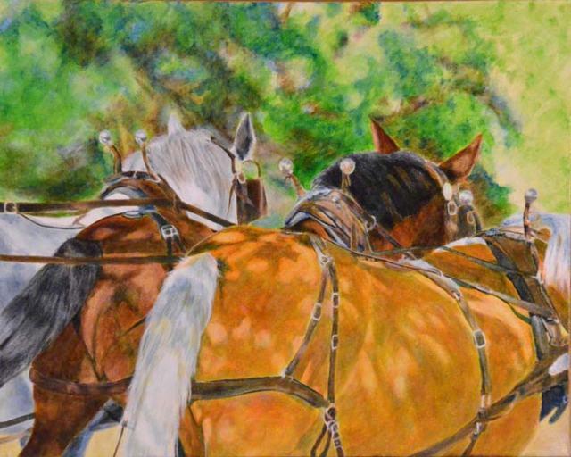 """American Troika""--a draft trio pulling a tourist wagon on Mackinac Island."