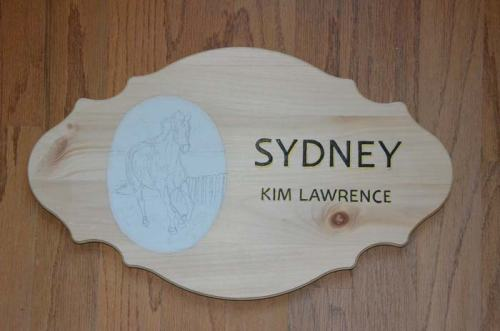 Stall plaque in progress--it's been quite a process!