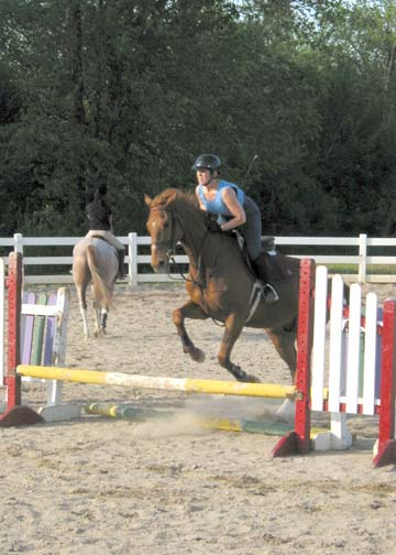 Early jumping days. We both look pretty awful!