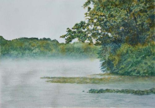 A watercolor experiment with dense foliage and fog