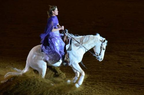 Some of the bolder (or more experienced) riders chose to ride in the spotlights. It worked really well for this gal on her white horse.