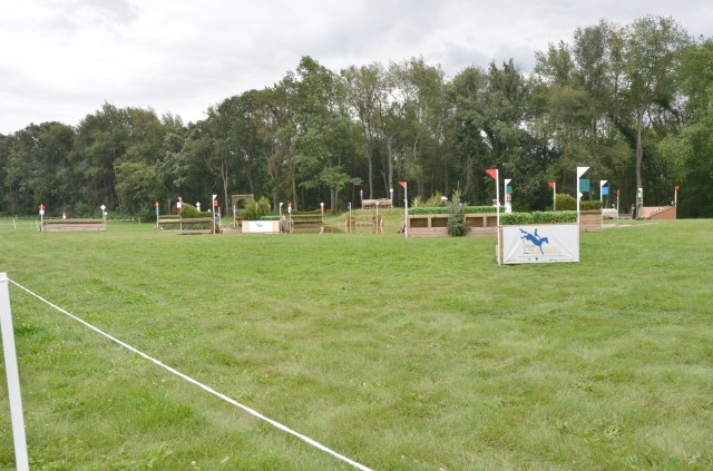 A chunk of the cross country course by the vendor row. It looks complicated and jumbled, but no one horse had to cross all the jumps. They were set up by class level and only the ones in a particular class had to be jumped. The water obstacles were fun to watch.