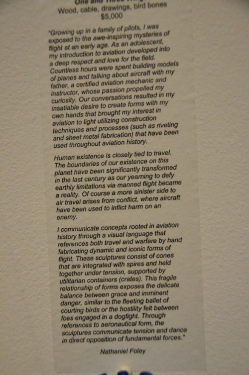 Nathaniel Foley's very lovely artist statement. If you have trouble reading it here, it's also on his website.