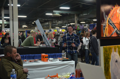 Crowded aisle, from my artist's perch at the back of my booth.