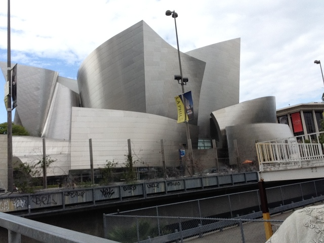 The Walt Disney Concert Hall, across the street from The Broad.