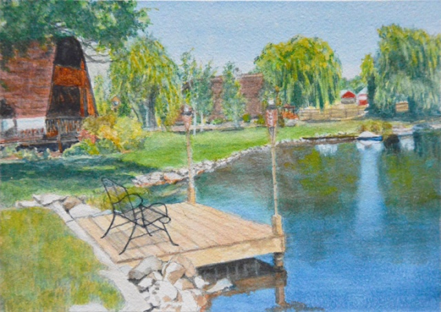"Willow Pond, commissioned watercolor on Aquabord™, 5"" x 7"""