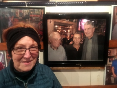 Alli gets her selfie next to a photo of Anthony Bourdain, who apparently helped make the Tasca do Chico bar where we heard fado famous.