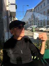 Greg gets his espresso shot in Lisbon.