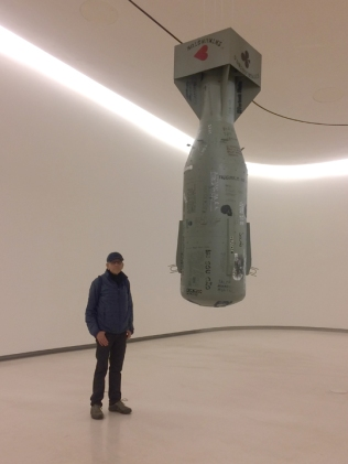 Full-size model of the bomb that destroyed Hiroshima. Greg is standing next to it for scale. At MAAT.