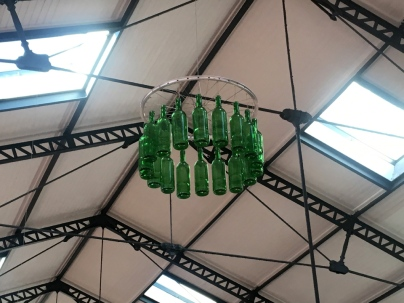 Odd light-free chandelier of wine bottles hanging from a bicycle wheel at Rossio Station, where we caught the train to Sintra.