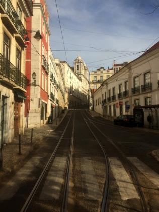 Narrow hilly street.